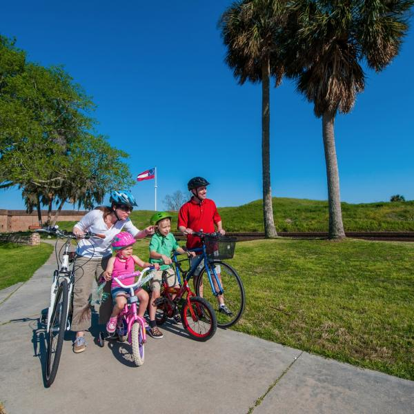 family bike ride fort pulaski tybee island outdoor adventure recreation national park