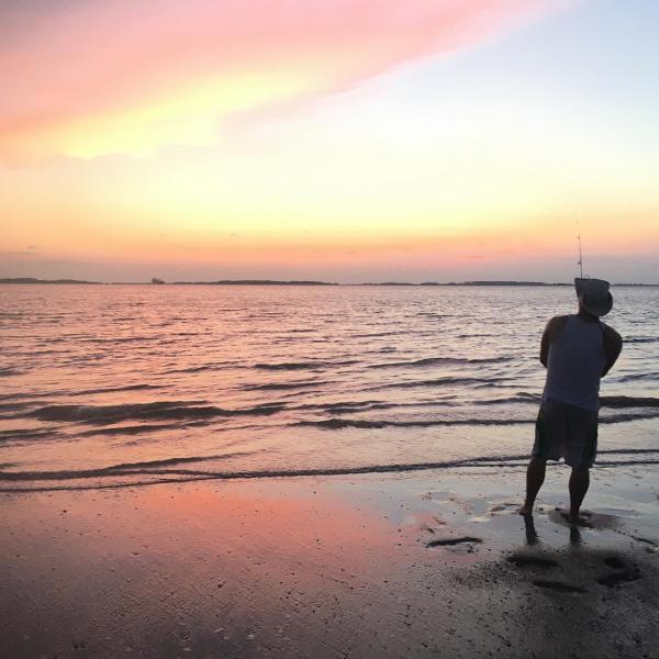 fishing tybee island beach sunset