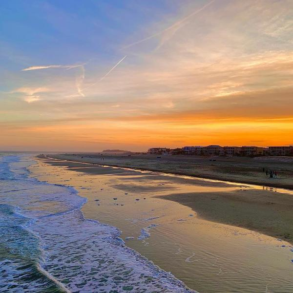 tybee south beach drone sunset