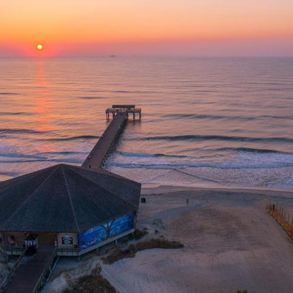 tybee island pier sunrise drone